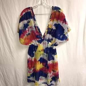 MIKEN MULTICOLORED BEACH COVERUP